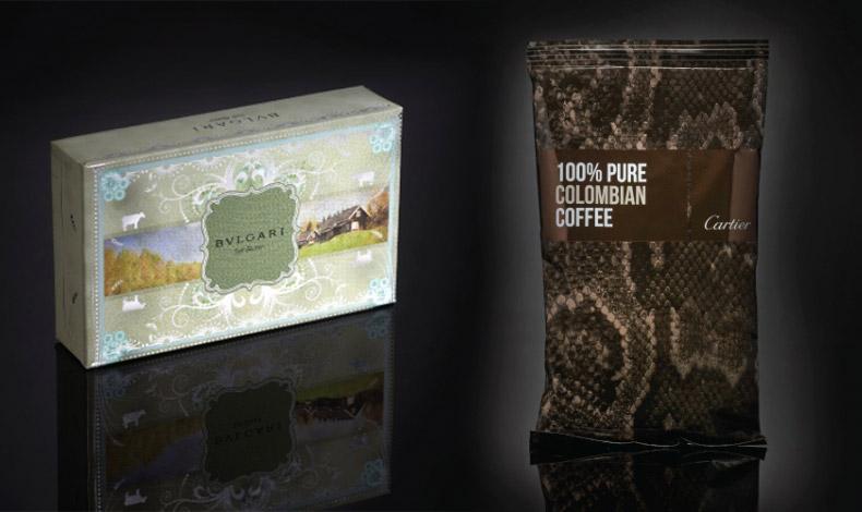 Μία συσκευασία βουτύρου με την πολυτελή διάθεση του διάσημου οίκου Bulgari // Το διάσημο λογότυπο Cartier παίρνει τη θέση μίας μάρκας κολομβιανού καφέ