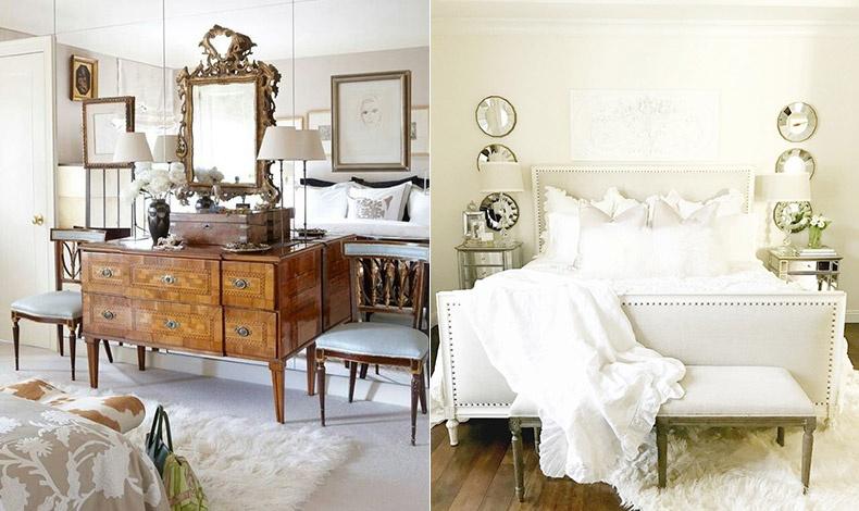 Το λευκό συνδυάζεται τέλεια με σκούρα ξύλινα έπιπλα για ένα πιο κλασικό ύφος // Λευκό δέρμα για το κρεβάτι σε φόντο λευκό-κρεμ, κομψότητα και μοντέρνα ατμόσφαιρα