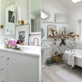 Τα λευκά μάρμαρα και έπιπλα μπάνιου με πινελιές μαύρου δημιουργούν μία ενδιαφέρουσα αντίθεση // Ρετρό μπάνιο σε τόνους λευκού. Προσθέστε αποξηραμένα κλαδιά και καλάθια για ρουστίκ στιλ