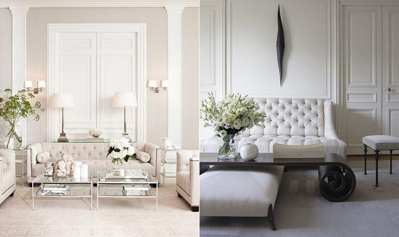 Τόνοι του λευκού σε έναν συνδυασμό που αποπνέει αριστοκρατικό ύφος // Λευκά υφάσματα με σκούρο ξύλο, μίνιμαλ ύφος αλλά απαράμιλλη κομψότητα