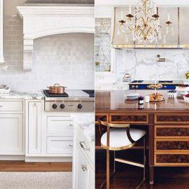 Λευκή κουζίνα σε συνδυασμό με σκούρο ξύλο στα δάπεδα ή και στο κεντρικό τραπέζι