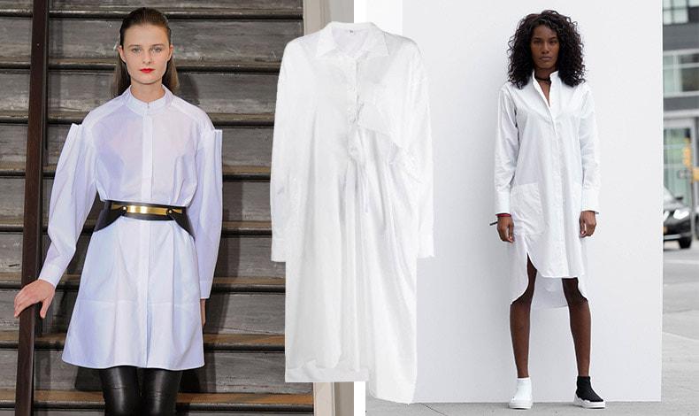 Το πουκάμισο που φοριέται σαν φόρεμα ή σαν τουνίκ δεν έφυγε ποτέ από τη μόδα, αλλά απαιτεί προσοχή στο μήκος του ανάλογα με το ύψος μας // Από την ανοιξιάτικη συλλογή Yohji Yamamoto (στο κέντρο)