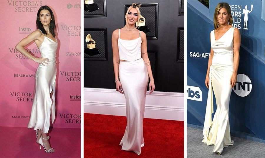 Η Kendal Jenner με λευκό slip dress και αποκαλυπτικό σκίσιμο // Η Dua Lipa και η Jennifer Aniston αποδεικνύουν πόσο ευπροσάρμοστο είναι το μεταξωτό slip dress και γιατί είναι τέλειο για βραδινές εμφανίσεις