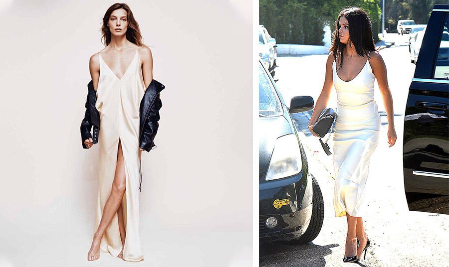 Τα δύο πρόσωπα του ίδιου φορέματος! Με ένα δερμάτινο τζάκετ όπως η Daria Werbowy ή με ψηλοτάκουνες γόβες όπως η Selena Gomez για το πάρτι της σχεδιάστριας Jeniffer Klein;