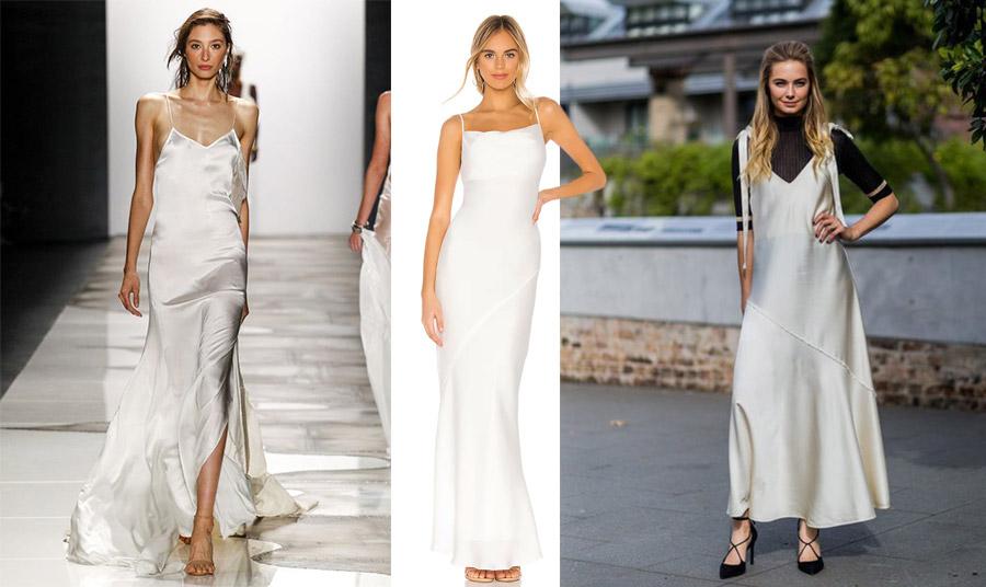 Ένα μάξι λευκό slip dress σε λιτή γραμμή είναι τέλειο για μία επίσημη εμφάνιση // Μπορείτε όμως, να το φορέσετε από μέσα με ένα μαύρο ζιβάγκο και να γίνει πιο casual!