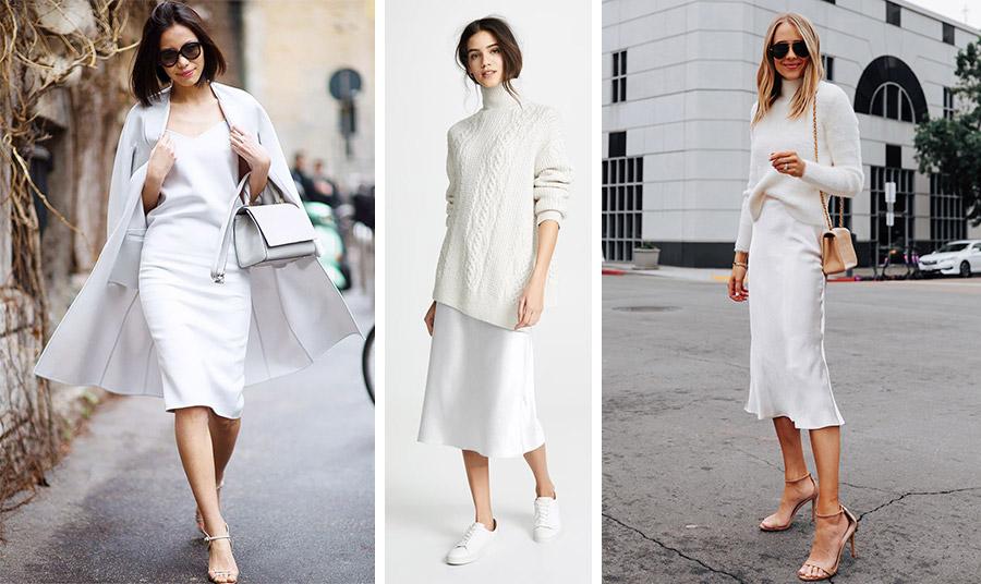 Ιδέες για να υιοθετήσετε το λευκό slip dress σε μίντι μάκρος… παντός καιρού!