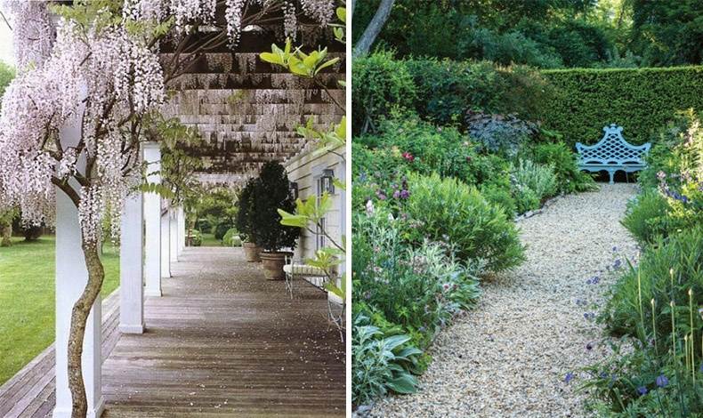 Οι κατάφυτοι κήποι του σπιτιού διαθέτουν τη σφραγίδα της landscape designer, Miranda Brooks και δίνουν μια άψογα μελετημένη εικόνα «άγριων κήπων», όπου η βλάστηση φαίνεται να έχει καλύψει τα πάντα όλα σε μια απόπειρα να μεταφερθεί η ατίθαση φύση δίπλα στον άνθρωπο