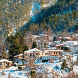 Το χωριό Ζαρούχλα χιονισμένο