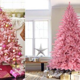 Ένα ρομαντικό δέντρό με χρυσαφί, μοβ και ασημί μπαλίτσες // Ένα εντυπωσιακό ροζ δέντρο σε έναν μίνιμαλ χώρο