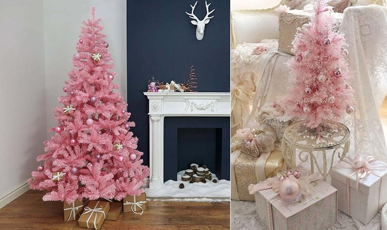 Τα ασημένια στολίδια λάμπουν πάνω σε ένα ροζ δέντρο // Μία μίνι εκδοχή σε ένα ρετρό, νοσταλγικό υπνοδωμάτιο