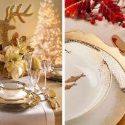Λευκό ράνερ, λευκά σερβίτσια με χρυσή λεπτομέρεια και διακοσμητικές πινελιές σε χρυσό // Συνδυασμός με λευκό και χρυσό και χρυσαφί σερβίτσιο φαγητού