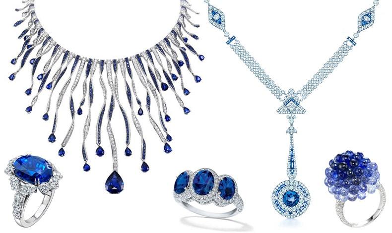 Δείγματα από υπέροχα κοσμήματα με ζαφείρια και διαμάντια: Δαχτυλίδι, Harry Winston // Περιδέραιο, Chopard // Δαχτυλίδι με τρία ζαφείρια, Τiffany?s // Κολιέ με διαμάντια και ζαφείρια, Τiffany's // Δαχτυλίδι σαν λουλούδι, Chopard