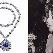 Το εντυπωσιακό περιδέραιο την Ελίζαμπεθ Τέιλορ που της δώρησε ο Ρίτσαρντ Μπάρτον για τα 40ά της γενέθλια κοσμείται από ένα εκπληκτικό ζαφείρι 52.72 καρατίων από την Μπούρμα. Ξαναφορέθηκε πρόσφατα από την Τζέσικα Τσαστέιν με αφορμή την ταινία «Κλεοπάτρα» κατά την προβολή της στις Κάννες