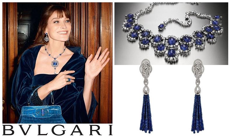 Η Κάρλα Μπρούνι για τον οίκο Bulgari // Περιδέραιο με εντυπωσιακά ζαφείρια και κρεμαστά σκουλαρίκια δεμένα με διαμάντια του οίκου Bulgari