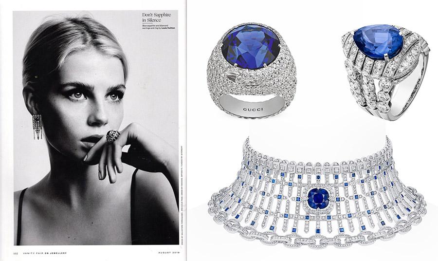 Τα ζαφείρια είναι αγαπημένος πολύτιμος λίθος και στους διάσημους οίκους μόδας, συνήθως δεμένα με διαμάντια: Δαχτυλίδια, Gucci // Δαχτυλίδι Chanel // Κολιέ-τσόκερ, Louis Vuitton