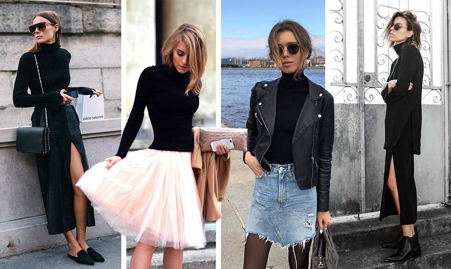 Μαύρο ζιβάγκο με μία φούστα: μακριά, με σκίσιμο, με τούλι, από τζιν… Τέλειο από το πρωί έως το βράδυ!