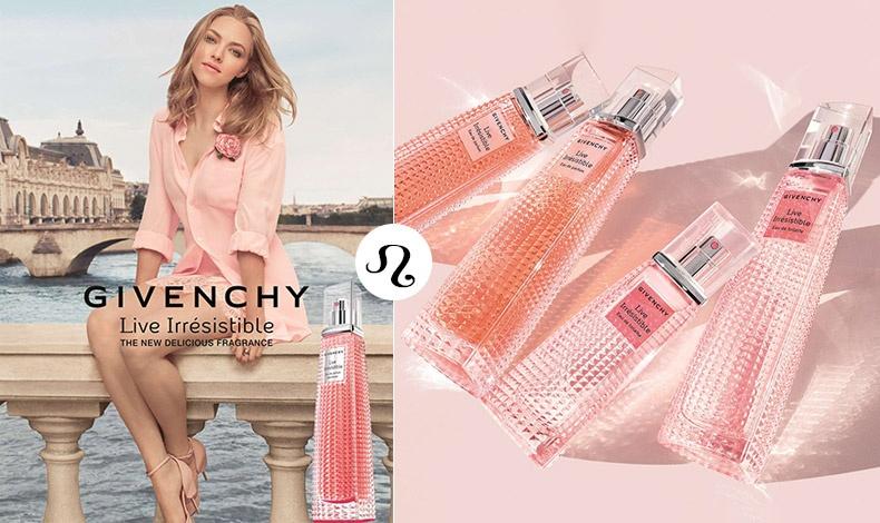 Live Irresistible, το νέο άρωμα του Givenchy με βάση το τριαντάφυλλο προτρέπει να ζήσουμε τη χαρά και την ελευθερία! Με εξωτικά και ανατολίτικα συστατικά δημιουργεί ένα ακαταμάχητο «όπλο» για τις εκπροσώπους του Λέοντα!