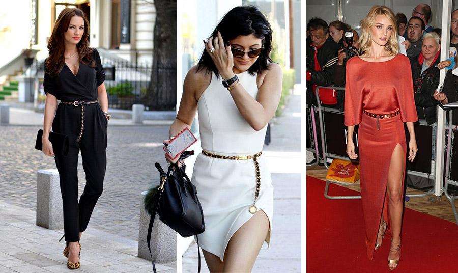 Συνδυάστε τη ζώνη αλυσίδα με μαύρα ή λευκά, ενώ με μία δίνει μία έξτρα πινελιά λάμψης πάνω από ένα κόκκινο μάξι φόρεμα, όπως της Rosie Huntington Whiteley