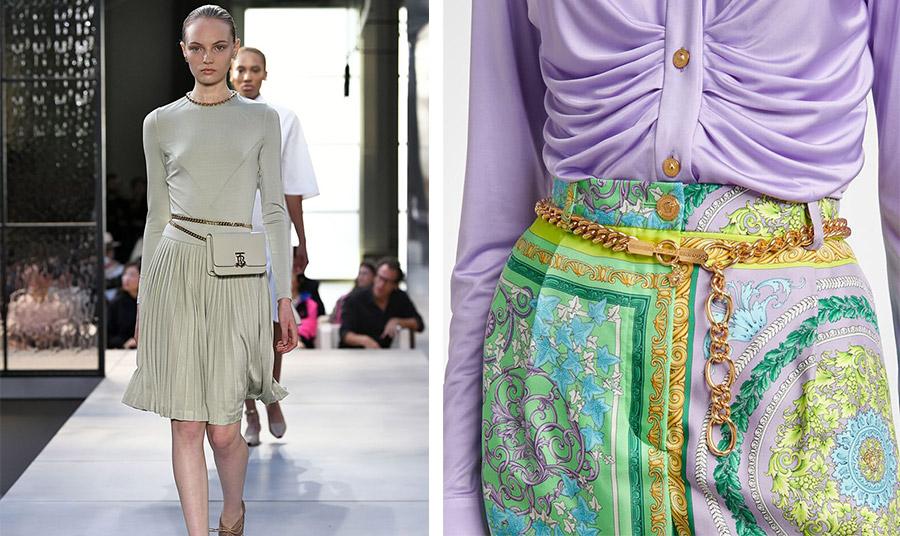 Από την πασαρέλα άνοιξη-καλοκαίρι 2021, Burberry // Η ζώνη αλυσίδα του οίκου Versace «Meduse» για τη φετινή σεζόν