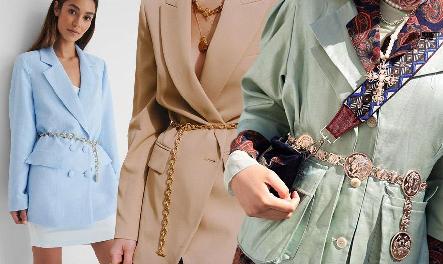 Μία ζώνη αλυσίδα μπορεί να τονίσει τη μέση σας πάνω από κάθε σακάκι